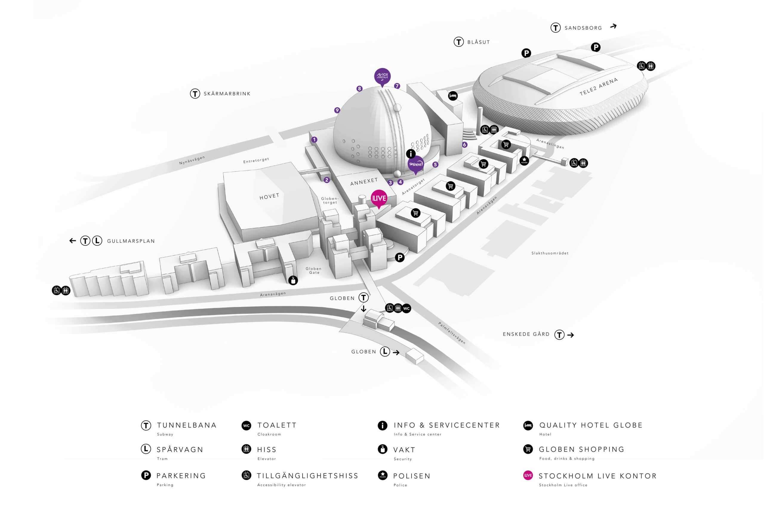 Avicii Arena – områdeskarta